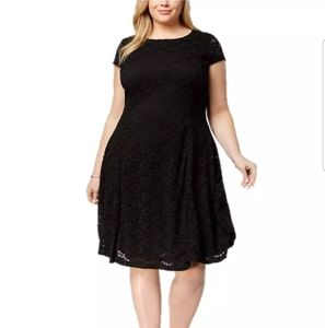 Alfani Deep Black Dress Lace Fit & Flared